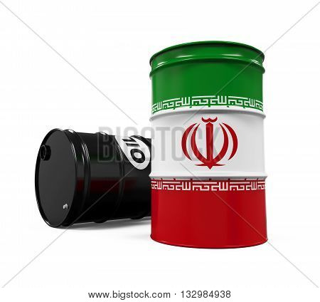 Iran Flag Oil Barrel isolated on white background. 3D render