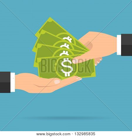 Businessman hands payment and receiving money banknote. Vector illustration flat design business concept design.
