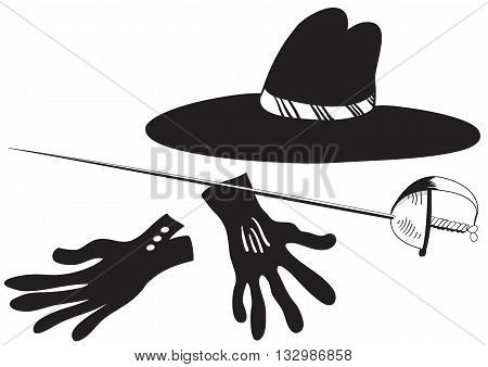 Illustration of black hat with gloves and epee