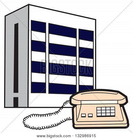 Illustration of symbolic buildings telecom and telephone