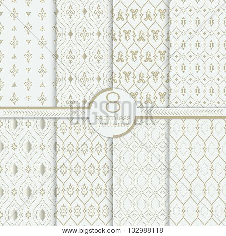 Vector seamless pattern. Set of luxury organic textures. Patterns can be used as background fabric print surface texture wrapping paper web page backdrop wallpaper and more
