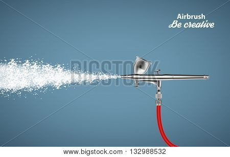 Close up of a airbrush paint sprayer isolated on blue background. Vector illustration EPS10
