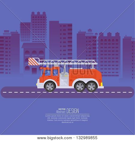 The fire truck going on the way to a background of the night city. Concept of fire safety. Service 911. Help in emergency situations. A vector illustration in flat style.