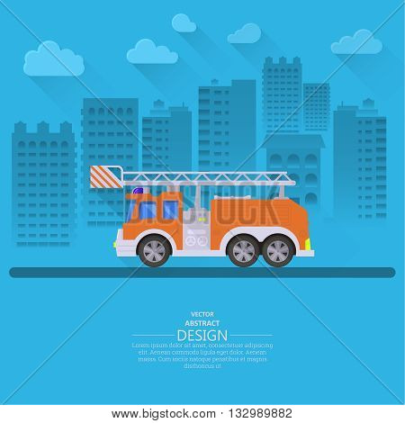 The fire truck going on the way to a city background. Concept of fire safety. Service 911. Help in emergency situations. A vector illustration in flat style.