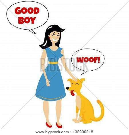 vector illustration of a smiling girl standing with a dog pet training concept illustration in a retro comics style