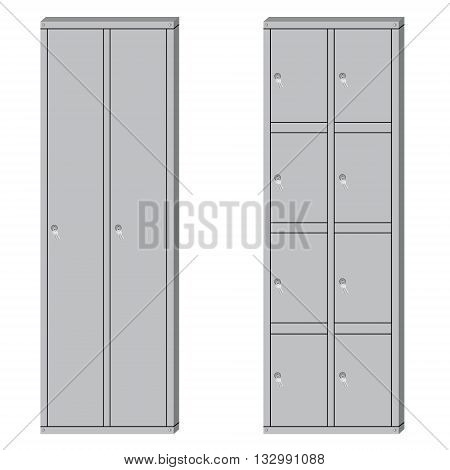 Vector illustration set of metal school sport lockers. Gym locker. Locker door. Deposit lockers