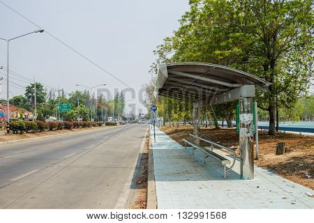 ChiangMai Thailand. May 12-2016: The empty bus stop located by the road.