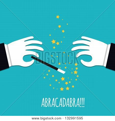 Abracadabra cartoon concept. Cartoon Magicians hands in white gloves holding a magic wand with stars sparks. Abracadabra flat design on green background