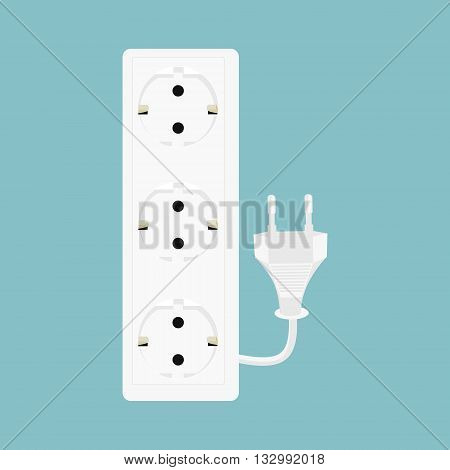 Vector illustration black power extension isolated on white background. Extension cord icon