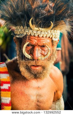Man With Wrinkles In Papua New Guinea