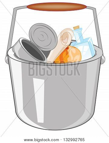 Pail of the full rubbish on white background is insulated