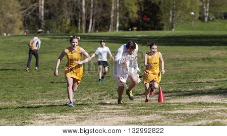 UMEA, SWEDEN ON MAY 27. Unidentified participants in the Brannboll Cup Championship on May 27, 2016 in Umea, Sweden. Imaginative costumes among the player in different situations. Editorial use.