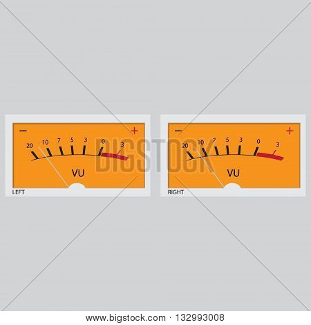 Vector illustration of set of left and right analog electronic VU meters.
