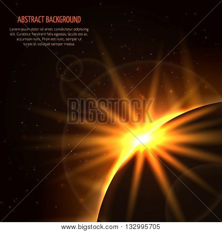 Sunrise vector space background. Planet and sunrise star, light sunrise in universe illustration