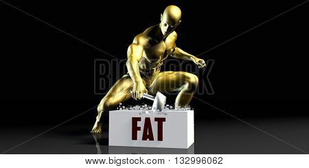 Eliminating Stopping or Reducing Fat as a Concept 3d Illustration Render