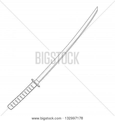 Vector illustration japanese katana sword outline drawing. Samurai sword traditional weapon