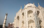 Imperial architecture of Taj Mahal in Agra, Delhi. Taj Mahal was built by Shah Jahan in memory of Mumtaz Mahal and showcases classic Mughal and Persian architecture. poster