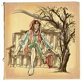 An hand drawn retro vector illustration colored line art. TILL EULENSPIEGEL. Vintage freehand sketch of a trickster figure originating in Middle Low German folklore sitting on a bench. poster
