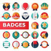 Modern vector flat design merit awards icons set. Decorative elements - ribbon, cup, medal, certificate, badge, crown, laurels poster