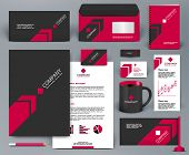 Professional universal branding design kit with red arrow on black background. Corporate identity template.  Business stationery mockup with badge, folder, cup,  pennant, letter.  poster