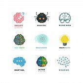 Brain, creation, invention, inspiration, idea vector icons. Inspiration brain logo and idea brain creation illustration poster