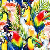 watercolor parrots seamless pattern on white background. Hand painted illustration with different species of parrots and palm leaves poster