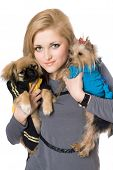 Portrait of pretty blonde with two dogs. Isolated on white poster
