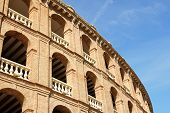 Detail of Plaza de toros (bullring) in Valencia Spain. This stadium was built by architect Sebastian Monleon in 1851 next to North Train Station (Estacion de Norte). poster