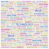 TECHNOLOGY. Word collage on white background. Illustration with different association terms. poster