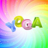 YOGA. Rainbow 3d illustration.