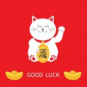 Lucky cat holding golden coin. awaving hand paw. Chinese gold Ingot. Feng shui Success wealth symbol mascot. Cute character. Good luck Greeting card. Flat Red background Vector poster