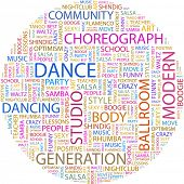DANCE. Word collage on white background. Illustration with different association terms. poster