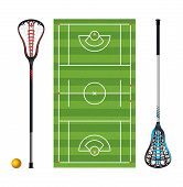 An illustration of a lacrosse field with colorful lacrosse sticks and ball isolated on white. Vector EPS 10 available. poster