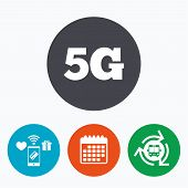 5G sign icon. Mobile telecommunications technology symbol. Mobile payments, calendar and wifi icons. Bus shuttle. poster