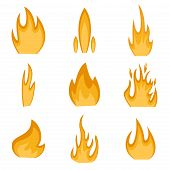 Collection of fire icons vector and fire flame danger hot energy elements. Ignite element fire flame and flammable blazing fire flame. Blaze design, explosion fire flame icon. Energy campfire set. poster