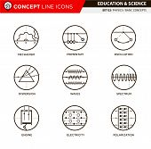Physics basic concepts line icons in white isolated background used for school and university education and document decoration, create by vector poster