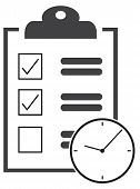 clipboard & clock icon urgency business task prioritize poster