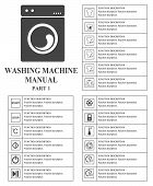 Washing machine manual symbols. Part 1 Instructions. Signs and symbols for washing machine exploitation manual. Instructions and function description. Vector isolated illustration. poster