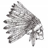 Hand Drawn Native American Indian Headdress With Human Skull In Profile. Vector Monochrome Illustration Of Indian Tribal Chief Feather Hat And Skull Side View poster