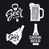 Beer related typography. Vector vintage lettering illustration. Chalkboard design elements for beer pub. Beer advertising. poster
