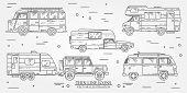 Set of Tourist bus SUV trailer jeep RV camper trailer Traveler truck. Summer trip family travel concept. Thin line icon. Vector illustration. poster