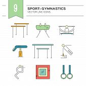 Artistic gymnastics icon collection made in modern linear vector style. Summer games and sports modern vector series. Great set of line style symbols. . poster