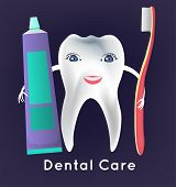 Tooth with toothbrush and toothpaste in childish style. Teeth hygiene concept. Dental image useful for poster, placard, leaflet and brochure design. Editable vector illustration poster
