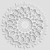 Lacy paper doily decorative flower decorative snowflake lacy mandala lace pattern arabic ornament indian ornament embossed pattern 3D vector poster