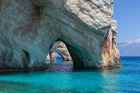 Blue caves on the island Zakynthos in Greece