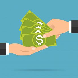 Businessman hands payment and receiving money banknote. Vector illustration flat design business concept design.