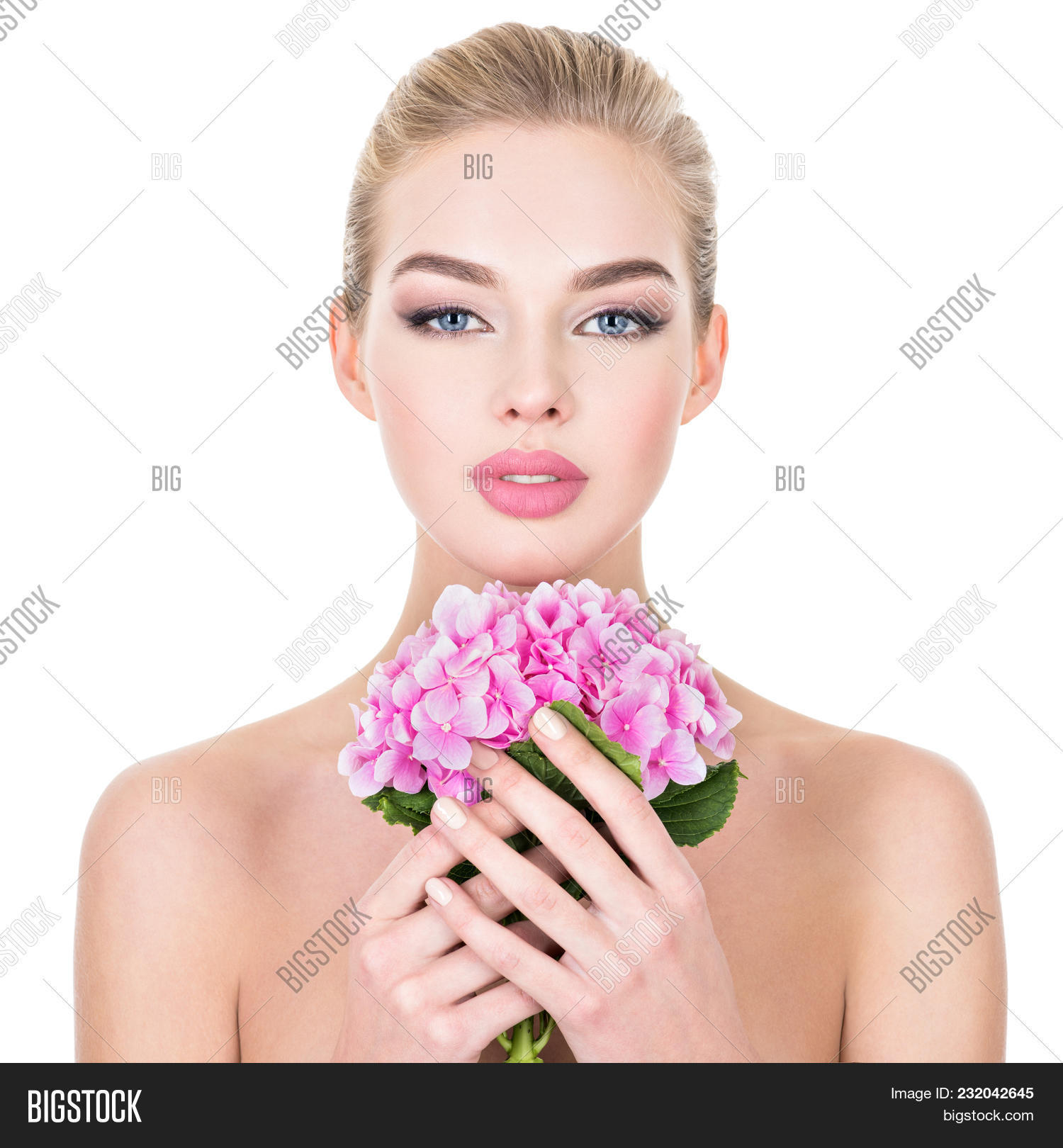 Young beautiful woman image photo free trial bigstock young beautiful woman with flowers near face beauty treatment concept skin care pretty izmirmasajfo