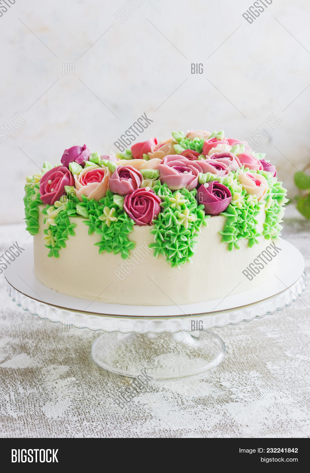 Birthday cake flowers image photo free trial bigstock birthday cake with flowers rose on white background malaysian flowers izmirmasajfo