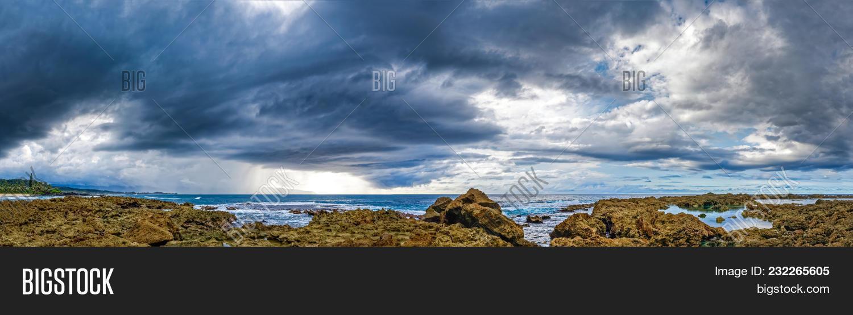 Panoramic View Of Three Tables Beach Oahu Hawaii