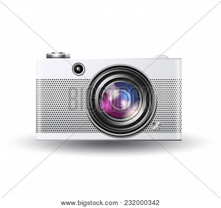 Vector Illustration Of Simple Photo Camera In Retro Style, Detailed Single Lens Camera Icon